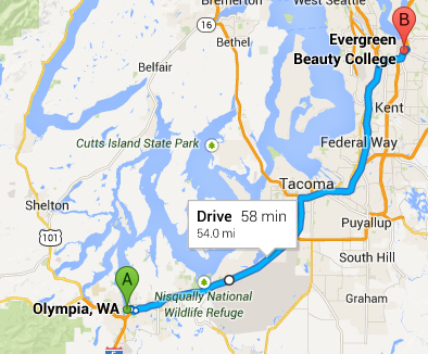 Evergreen Beauty College- Renton Campus Directions Map - from Olympia